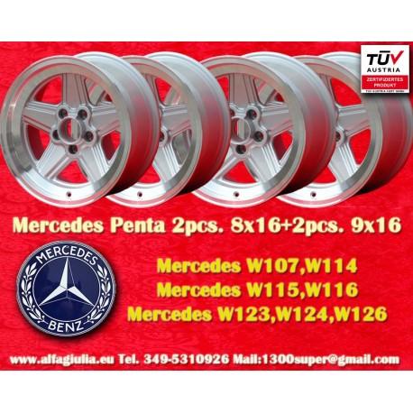 4 Stück Felgen AMG Penta 2 Stk. 8x16 + 2 Stk. 9x16 für Mercedes mit TÜV