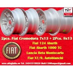 2 pcs. llantas Fiat Cromodora CD66 7x13 + 2 pcs. Cromodora CD80 8x13 4x98