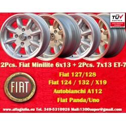 2 Pcs. 6x13 ET16 + 2 Pcs. 7x13 ET-7 4x98 Fiat/Autobianchi/Lancia Minilite