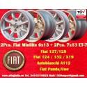 2 Pcs. 6x13 ET13 + 2 Pcs. 7x13 ET-7 4x98 Fiat/Autobianchi/Lancia Minilite