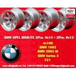 BMW/Opel Minilite 2 pcs. 8x13 + 2 pcs. 9x13 wheels 4x100 TUV