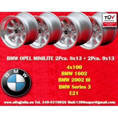 BMW/Opel Minilite 2 Cerchi 8x13 + 2 Cerchi 9x13 4x100 TUV