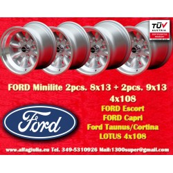 Ford Minilite 2 Stk. 8x13 + 2 Stk. 9x13 Felgen 4x108 TUV