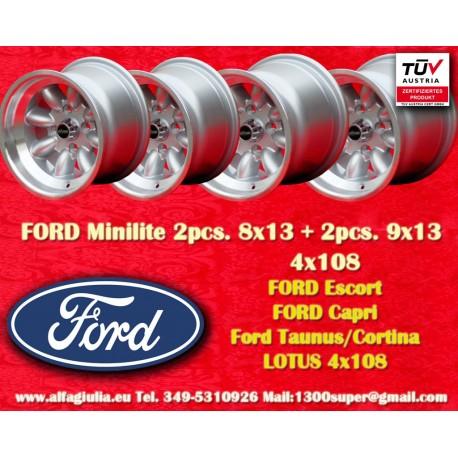 4 Stk. Ford Minilite 8x13 ET-6 4x108