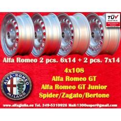 1 joue Alfa Romeo jantes 2 pcs. 6x14 + 2 pcs. 7x14 Spider GT GTA