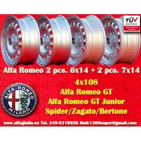 1 set Alfa Romeo wheels 2 pcs. 6x14 + 2 pcs. 7x14 Spider GT GTA