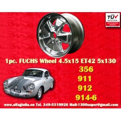 1 pz. llanta Porsche 356C, 911, 912, 914-6 Fuchs 4.5x15 ET42 5x130