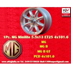 1 pz. llanta MG Midget / Austin Healey Sprite 5.5x13 ET25 4x101.6