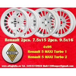 4 pcs. jantes Renault 5 Maxi Turbo 2pcs 7.5x15 + 2 pcs. 9.5x16 4x98