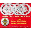 4 pcs. cerchi Renault 5 Maxi Turbo 2pcs 7.5x15 + 2 pcs. 9.5x16 4x98