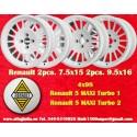 4 Stk. Felgen Renault 5 Maxi Turbo 2pcs 7.5x15 + 2 pcs. 9.5x16 4x98