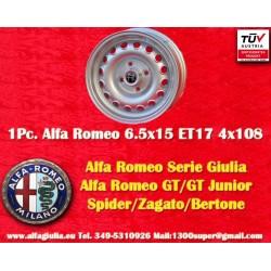 1 cerchio Alfa Romeo Giulia 6.5x15 ET17 4x108