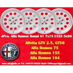 4 Cerchi in Lega Leggera Ronal A1 7x15 ET25 5x98 style per Alfa Romeo