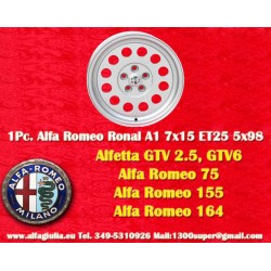 1 Cerchio in Lega Leggera Ronal A1 7Jx15 ET25 5x98 style per Alfa Romeo