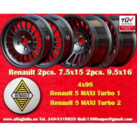4 pcs. Renault 5 Maxi Turbo 2pcs 7.5x15 + 2 pcs. 9.5x16 4x98  wheels