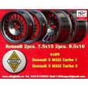 4 pcs. llantas Renault 5 Maxi Turbo 2pcs 7.5x15 + 2 pcs. 9.5x16 4x98