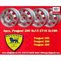 4 pz. Llantas Peugeot 205 306 309 6x15 ET19 4x108