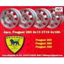 4 pcs Peugeot 205 306 309 6x15 ET19 4x108  wheels