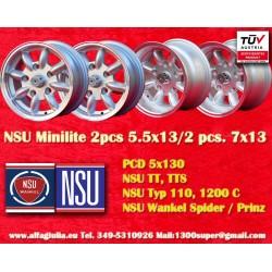 2 pcs. NSU 5.5x13 + 2 pcs 7x13 ET-7 wheels PCD 5x130