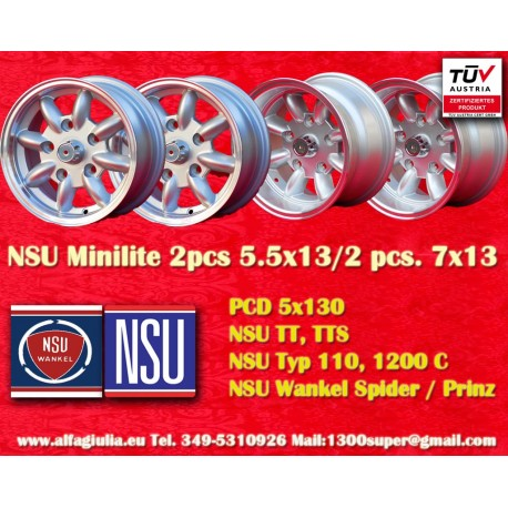 2 pcs. Jantes NSU 5.5x13 + 2 pcs. 7x13 PCD 5x130