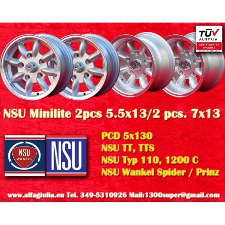 2 Stk Felgen NSU 5.5x13 + 2 Stk. 7x13 Lk. 5x130