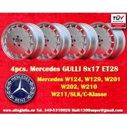 4 pcs. Jantes Mercedes Gullideckel 8x17 ET28 pour les voitures Mercedes