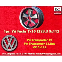 1 pc. Cerchio Volkswagen T2 T3 Fuchs 7x16 ET23.3 5x112