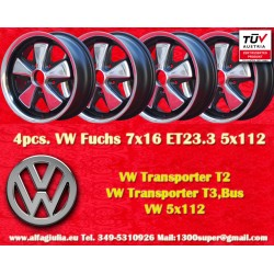 4 pz. Volkswagen T2 T3 Fuchs 7x16 ET23.3 5x112