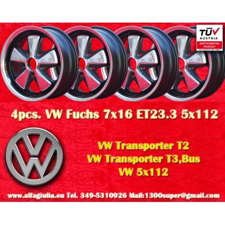 4 Stk. Volkswagen T2 T3 Fuchs 7x16 ET23.3 5x112
