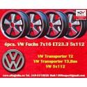 4 Stk. Felgen Volkswagen T2 T3 Fuchs 7x16 ET23.3 5x112
