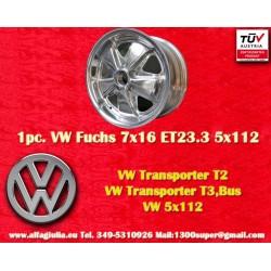 1 Stk. Felge Volkswagen T2 T3 Fuchs 7x16 ET23.3 5x112