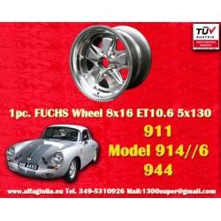 1 pc. cerchio Porsche 911 Fuchs 8x16 ET10.6 5x130 full polished