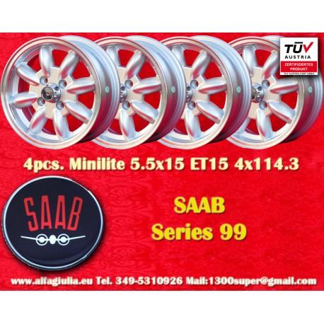4 pcs. Saab Minilite 5.5x15 ET15 4x114.3