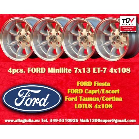 4 pcs. Ford Minilite 7x13 ET-7 4x108