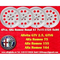 4 pcs Alfa Romeo Ronal A1 Style Alloy Wheels 7Jx15 ET25 wheels