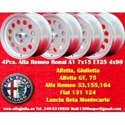 4 pcs Alfa Romeo Ronal A1 Style Alloy Wheels 7Jx15 ET25
