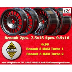4 pcs. Renault 5 Maxi Turbo 2pcs 7.5x15 + 2 pcs. 9.5x16 4x98  wheels